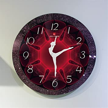 Beakjiful Reloj de Pared Grande Doble Vidrio Piano Línea Reloj Muebles para el hogar Danza Reloj de Entrenamiento, 35 cm: Amazon.es: Hogar