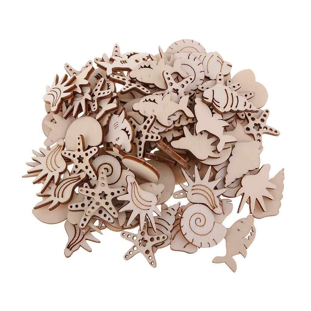 Forest Series Fityle 100pcs Animal Design Wooden Chips Embellishment Wooden Shape Art Craft DIY Scrapbooking Decoration