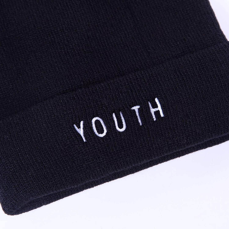 HYID New Women Men Cap Fashion Winter Cotton Warm Caps Youth Letter Black Skullies /& Beanies Hat Gorros
