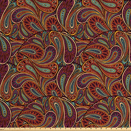 Lunarable Paisley Fabric by The Yard, Hand Drawing Style Eastern Antique Ornament Art Inspiration Abstract, Decorative Fabric for Upholstery and Home Accents, Orange Turquoise Plum ()
