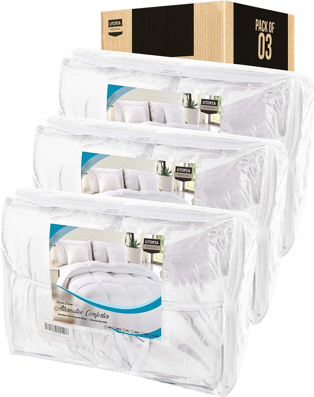 Utopia Bedding 3-Pack Comforter Duvet Insert (Queen, White) - Box Stitched Down Alternative Comforters – Bulk Comforters