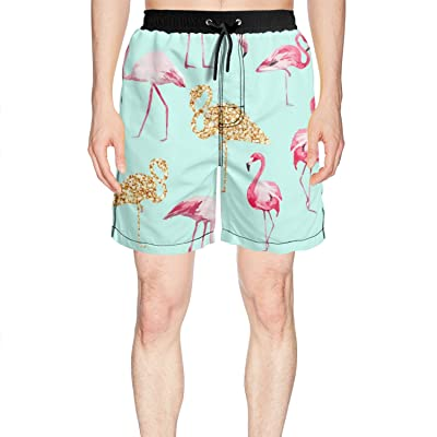 Mens Casual Swim Trunks Polyester Pink Flamingos Golden Pineapples Pattern Beachwear with Pockets