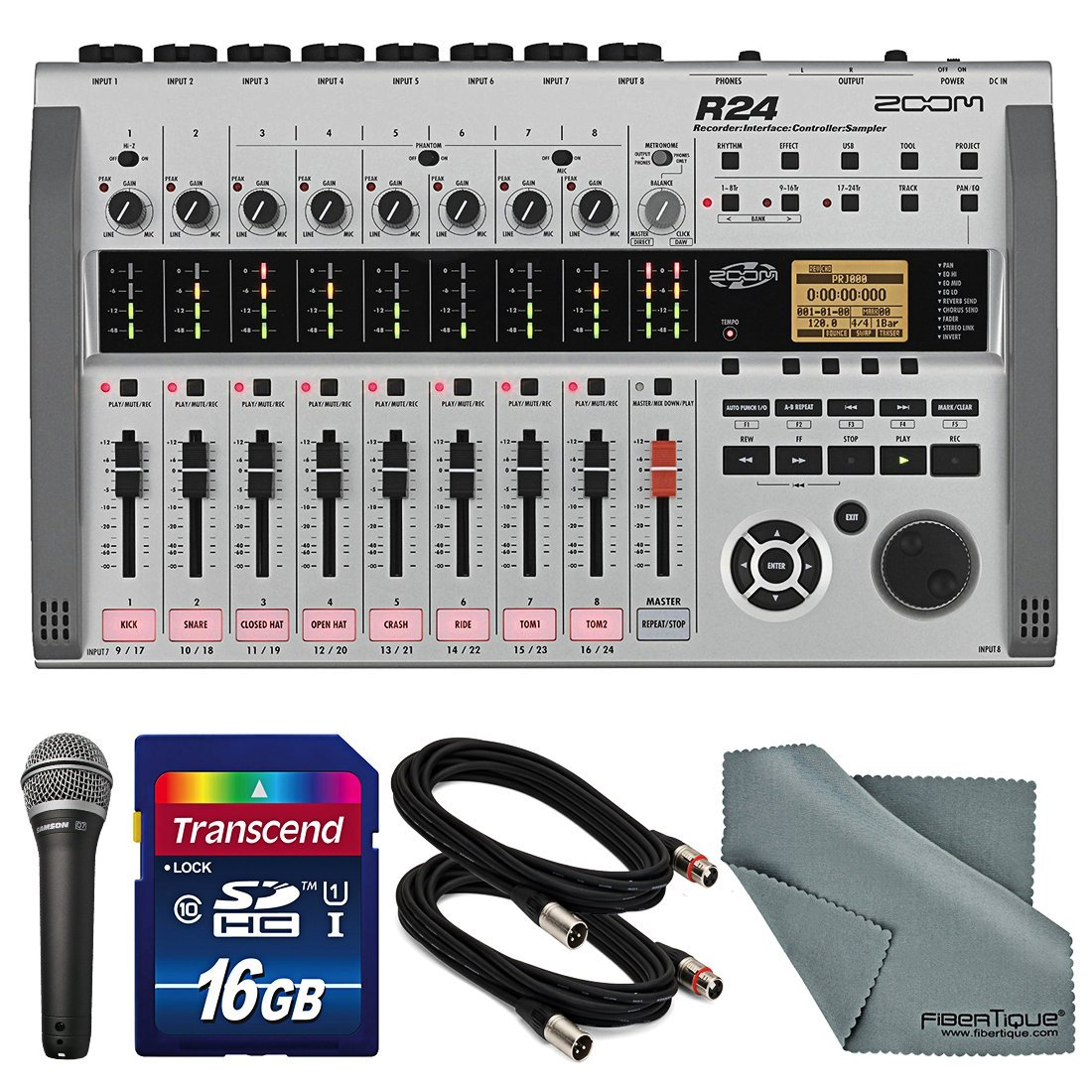Zoom R24 Multi-Track Recorder, Interface, Controller, and Sampler with Samson Q7 Supercardioid Neodymium Dynamic Handheld Microphone and Accessory Bundle