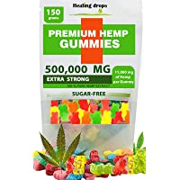 Premium Organic Hemp Sugar-Free Gummy Bears Natural Health Support 500,000MG High...