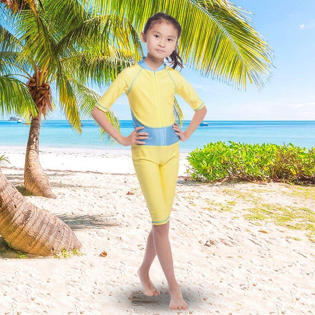 Baby Girl Traje de ba/ño de manga corta para ni/ños Traje de ba/ño de una pieza Casual Body con cremallera Ropa protectora de verano para ni/ños S-Amarillo