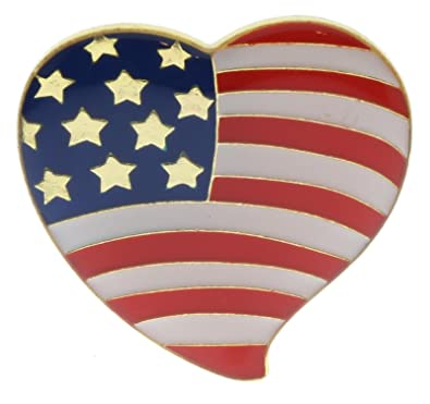 Amazoncom Usa Flag American Red White Blue Heart 1 Inch Hat Or