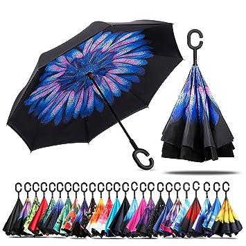 Jooayou Paraguas invertido de Doble Capa, Mango en Forma de C, Paraguas de Viaje