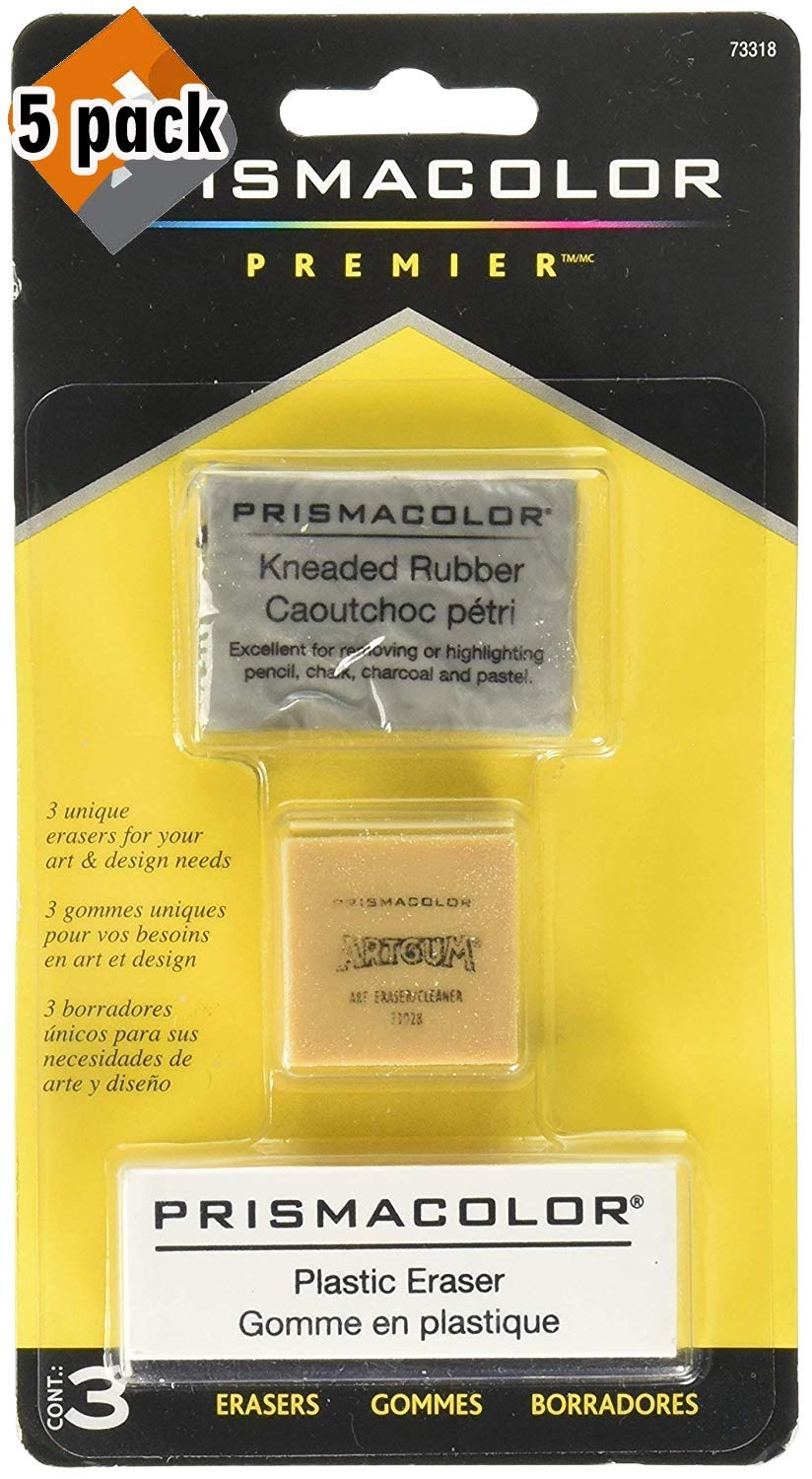 Prismacolor Premier Kneaded, ArtGum and Plastic Erasers, 5 Pack of 3
