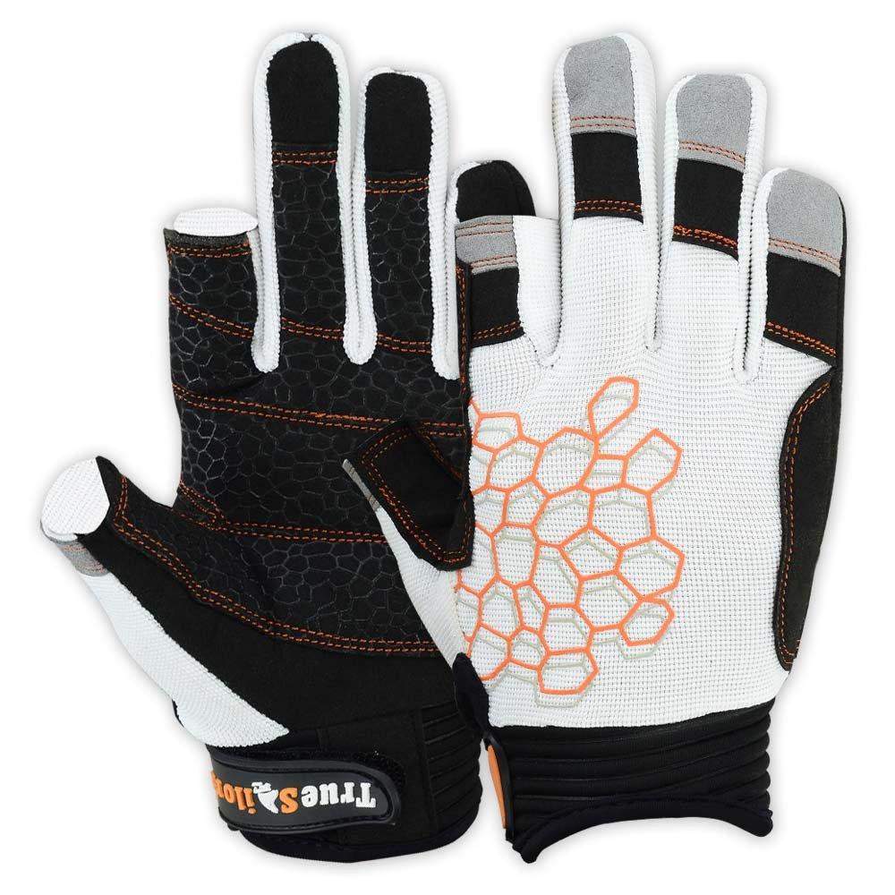 MRX BOXING & FITNESS Sailing Gloves Sticky Palm Gripy Glove Yachting Kayak Dinghy Fishing 2 Cut Finger (White 2-XL)