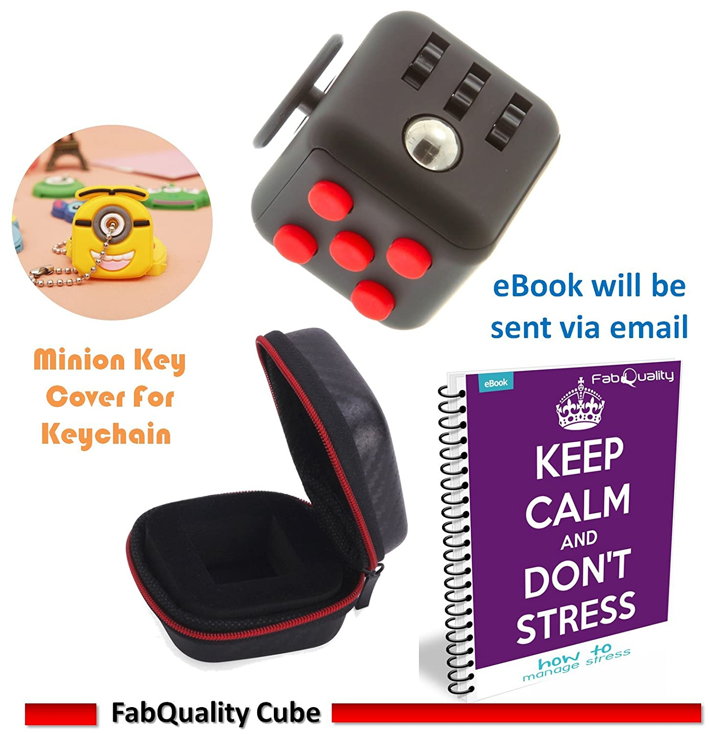 Fabquality Cube Anxiety Attention Toy With Bonus Case + Ebook Included +  Minion Key Chain  Relieves Stress And Anxiety And Relax For Children And  Adults