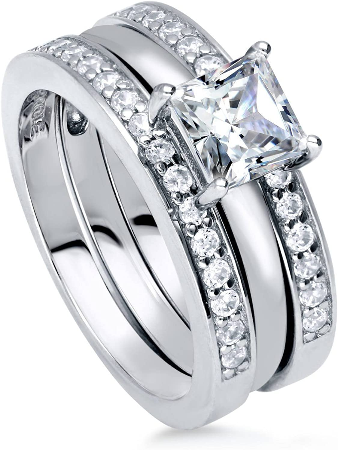 BERRICLE Rhodium Plated Sterling Silver Cut Zirco High material Princess Cubic Online limited product
