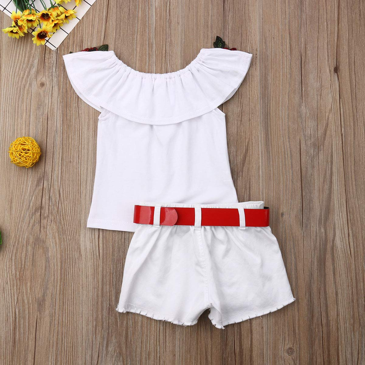Toddler Kids Clothing Baby Girls Cute Ruffle Flower Vest Tank Top+Denim Ripped Shorts Pants 2Pcs Outfits Clothes Set