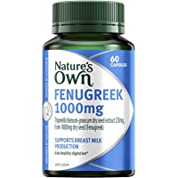 Nature's Own Fenugreek 1000mg - Aids Digestion and Appetite - Soothes Irritated Tissues - Relieves Abdominal Pain, 60 Capsules