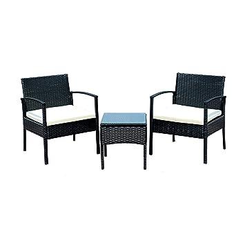 Conjunto de Muebles Poli Ratán para Jardin Patio Terraza o Hogar 3 Piezas 1 Mesa de Café 2 Sillas / Negro