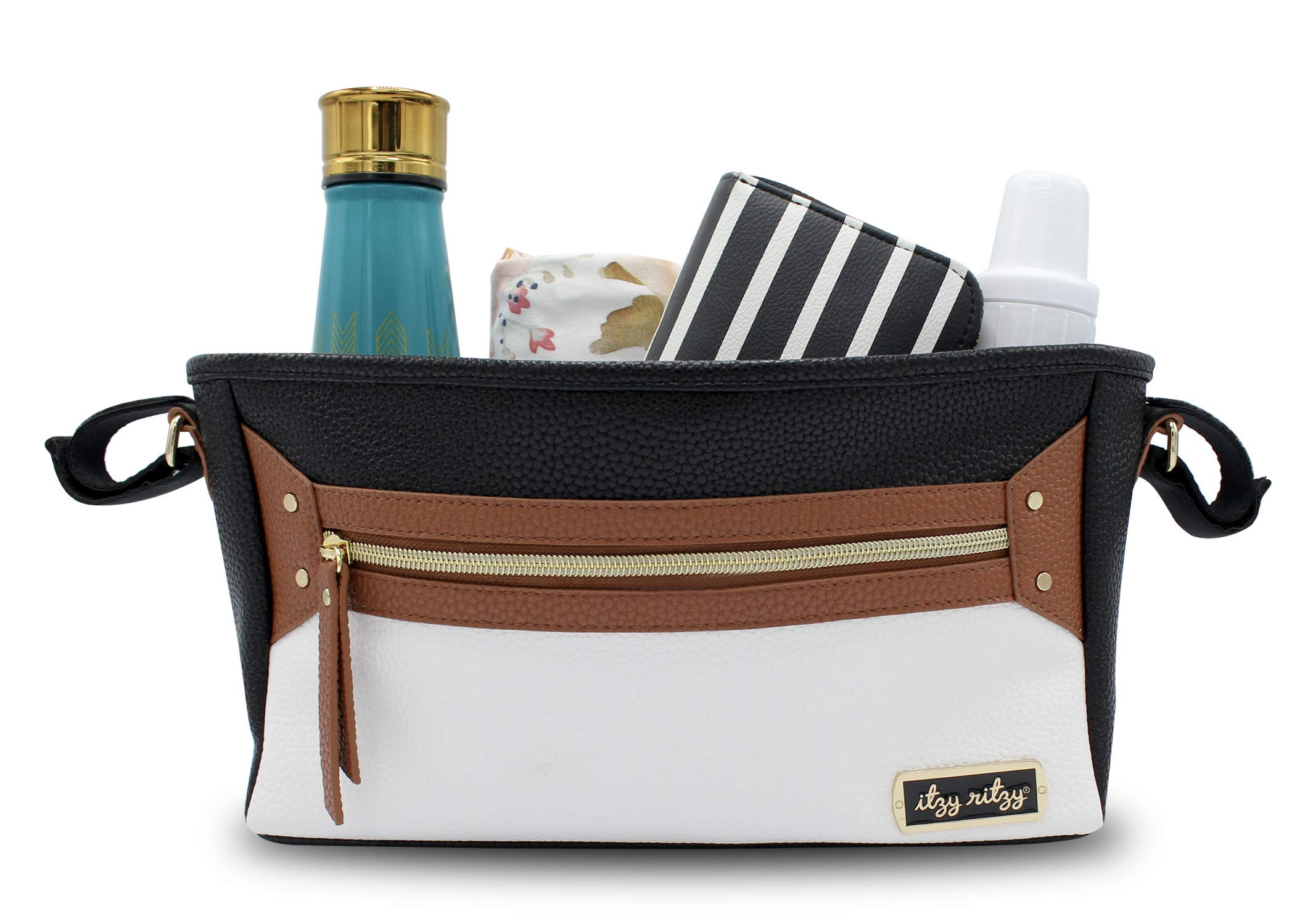 Itzy Ritzy Adjustable Stroller Caddy - Stroller Organizer Featuring Two Built-in Pockets, Front Zippered Pocket and Adjustable Straps to Fit Nearly Any Stroller, Coffee and Cream by Itzy Ritzy (Image #2)