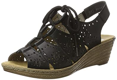 Rieker Damen 62465 Offene Sandalen mit Keilabsatz