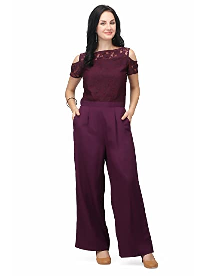 ba9396bab5b Eavan Women s Polyester A-Line Lace Jumpsuit Burgundy  Amazon.in ...