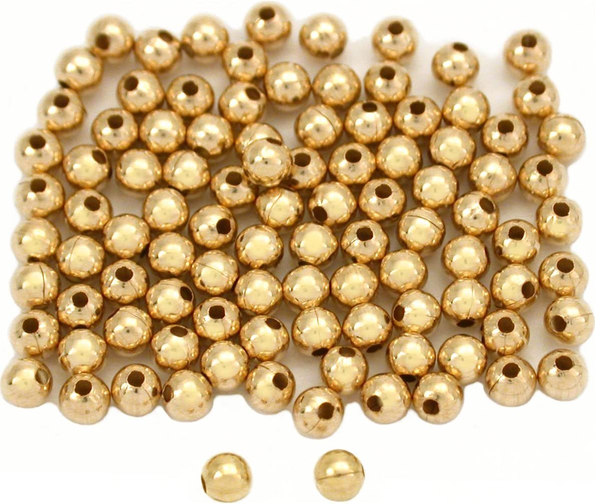 Pack Of 4 14 K GOLD FILLED  8 MM  BRIGHT SEAMLESS ROUND BEADS