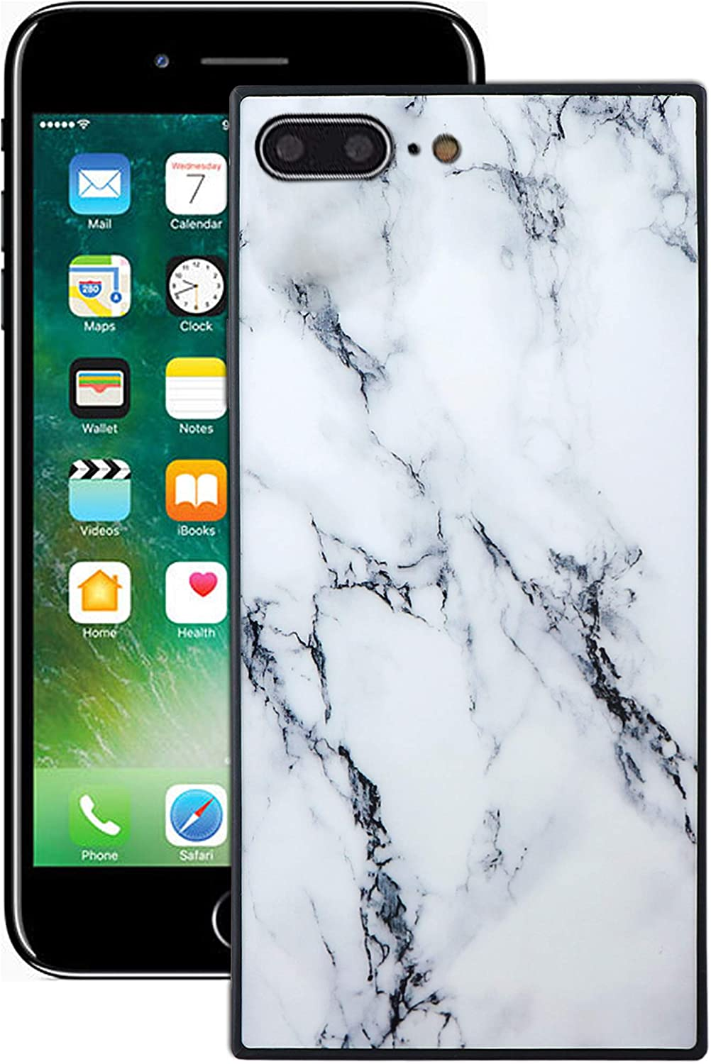 IP 7 Plus Case Square Compatible with Apple iPhone 7Plus / 8Plus Cover I Phone 8 7P 8P I7plus I8plus IPhone7Plus Iph Marble Luxury Protective Bumper Skin 5.5 Inch (White)
