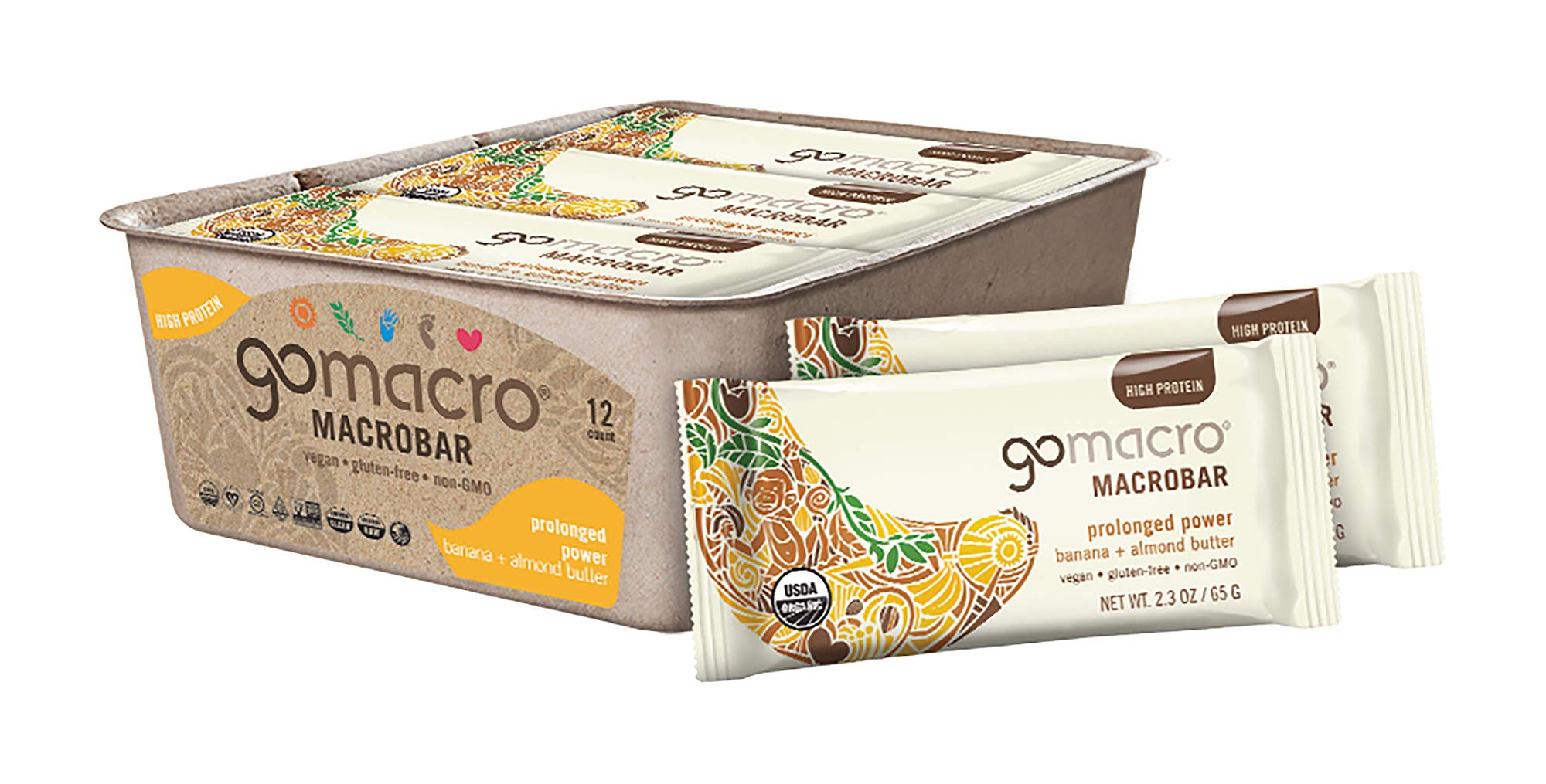 GoMacro MacroBar Organic Vegan Protein Bars Banana + Almond Butter 2.3 Ounce Bars (Pack of 12) by GoMacro