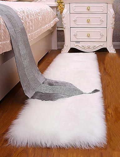 Junovo Soft Faux Sheepskin Fur Rectangle Area Rugs for Bedroom Floor Sofa Living Room, 2.3ft x 6ft White