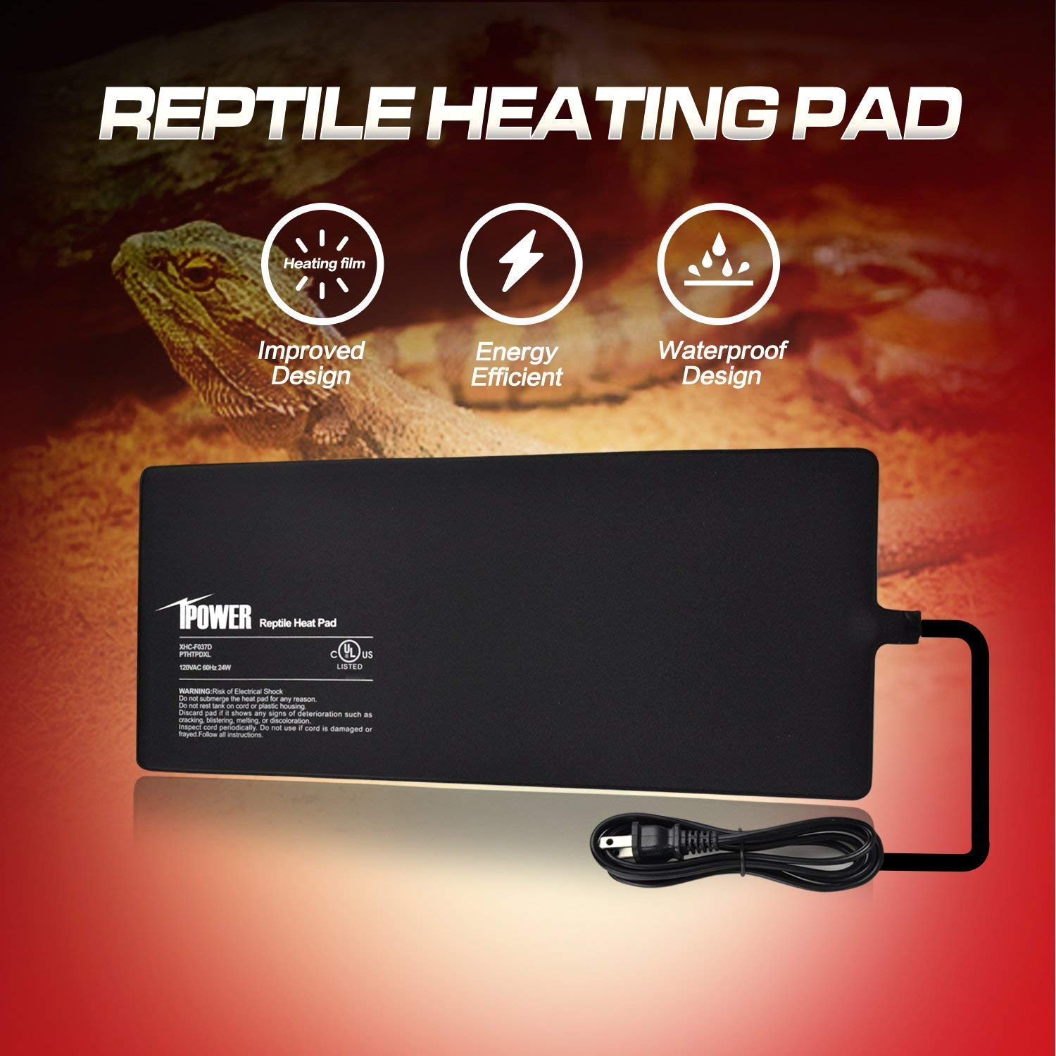 iPower Reptile Heat Mat Under Tank Heater Terrarium Heating Pad for Amphibians and Reptiles Pet