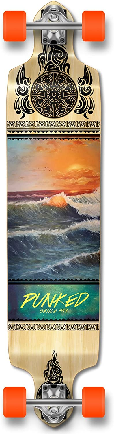 Yocaher Punked Wave Scene Longboard Complete Skateboard – Available in All Shapes Drop Down