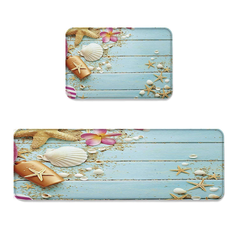 2 Piece Non-Slip Kitchen Mat Runner Rug Set Summer Beach Doormat Area Rugs Starfish Shells Wood Boards 15.7''x23.6''+15.7''x47.2''