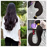 Moresoo 14 Inch Remy Brasileño Hair Weave #2 Marron Oscuro Human Hair Weft Extensions 100g/bundle 100% Remy Brazilian Human H