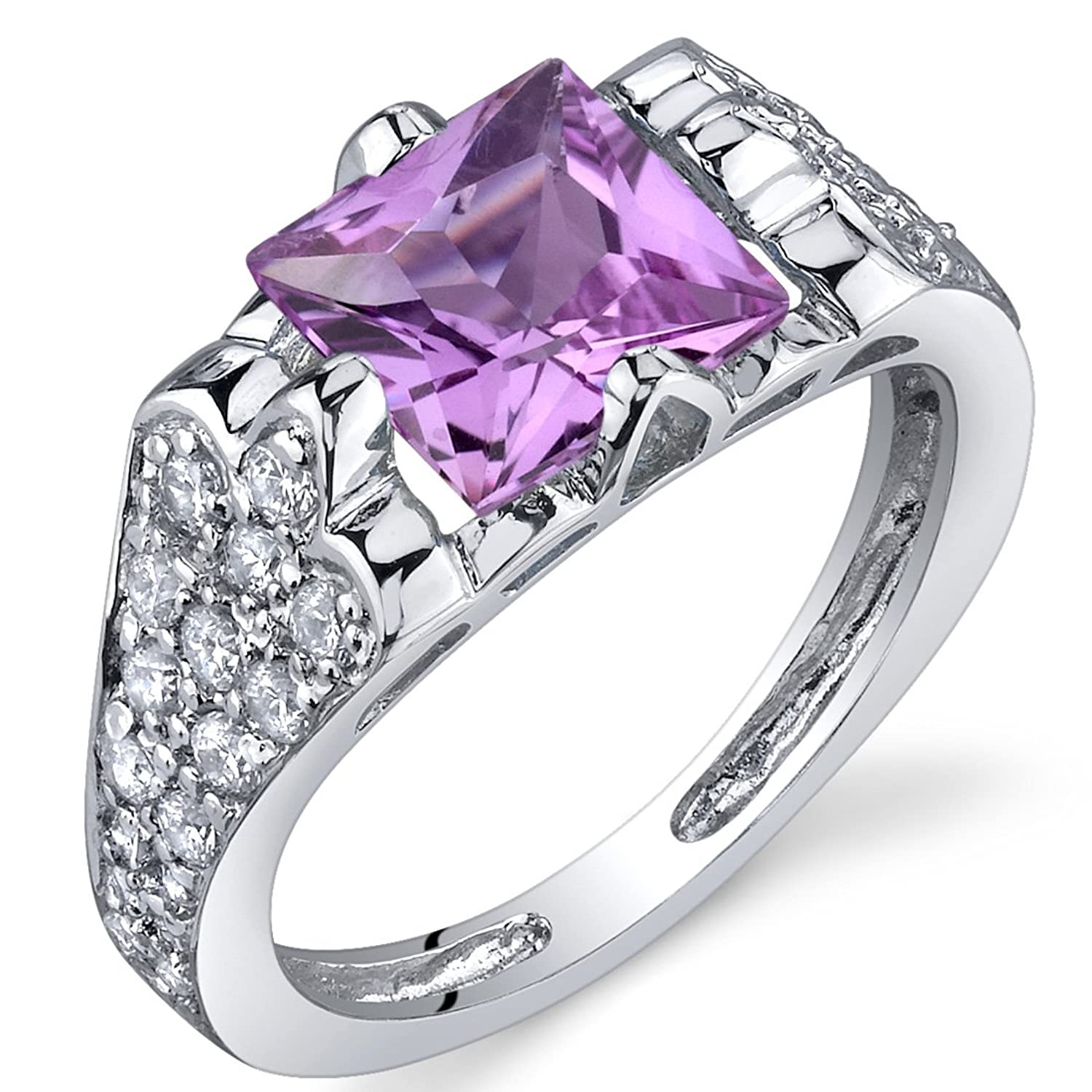 Created Pink Sapphire Ring Sterling Silver Rhodium Nickel Finish Princess Cut 2.00 Carats Sizes 5 to 9