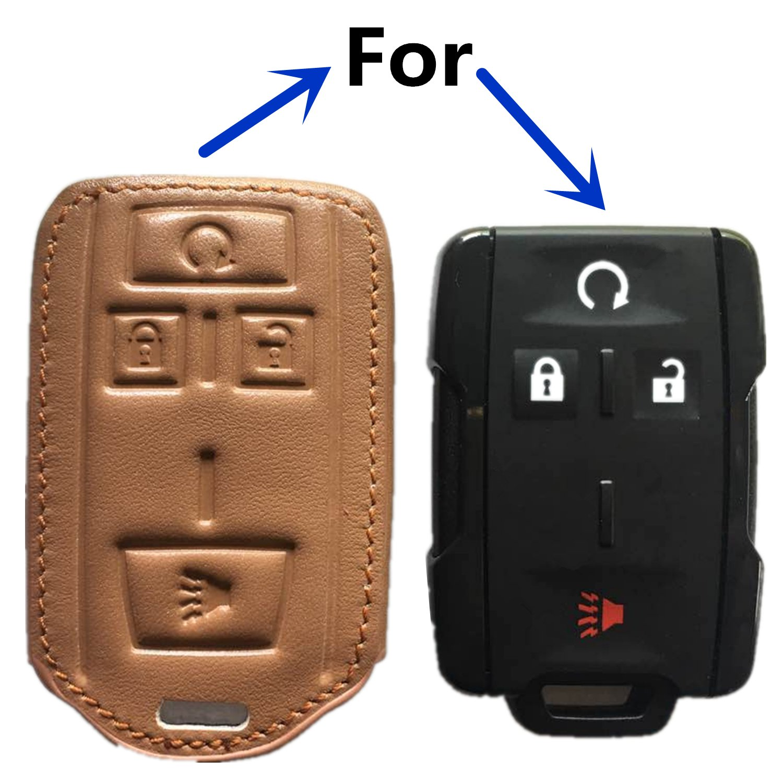RPKEY Leather Keyless Entry Remote Control Key Fob Cover Case protector For Chevrolet Colorado Silverado 1500 2500 HD 3500 HD GMC Canyon Sierra 1500 2500 HD 3500 HD M3N-32337100 22881480 brown ASD