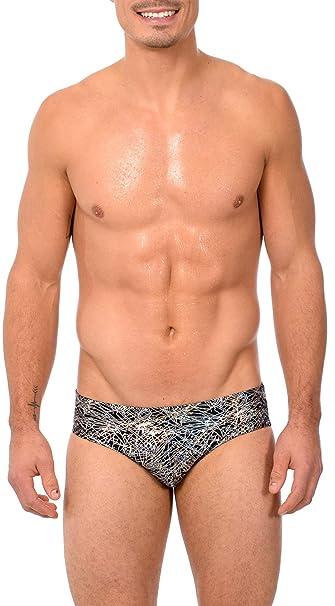 07def7fe28 Gary Majdell Sport Mens Print Hot Body Bikini Swimsuit (X-Large,  Flick_BLK_SIL): Amazon.co.uk: Clothing