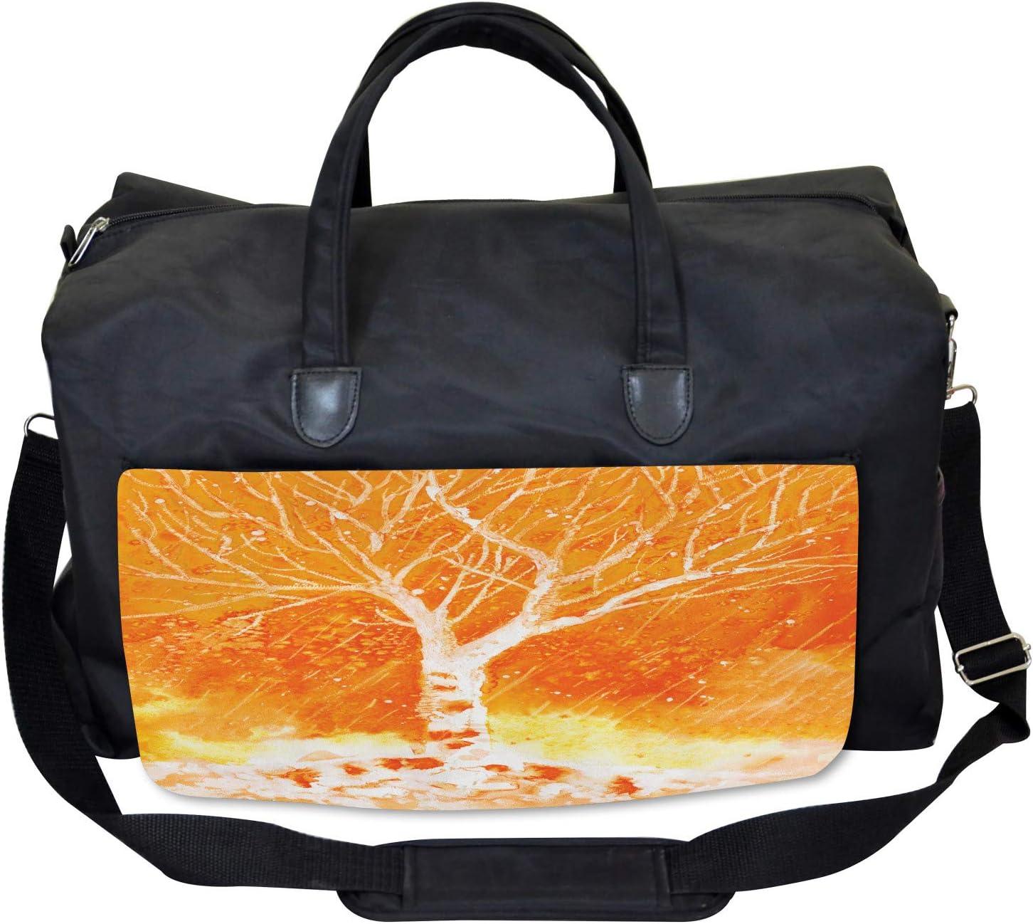Leafless Tree Autumn Large Weekender Carry-on Ambesonne Orange Gym Bag