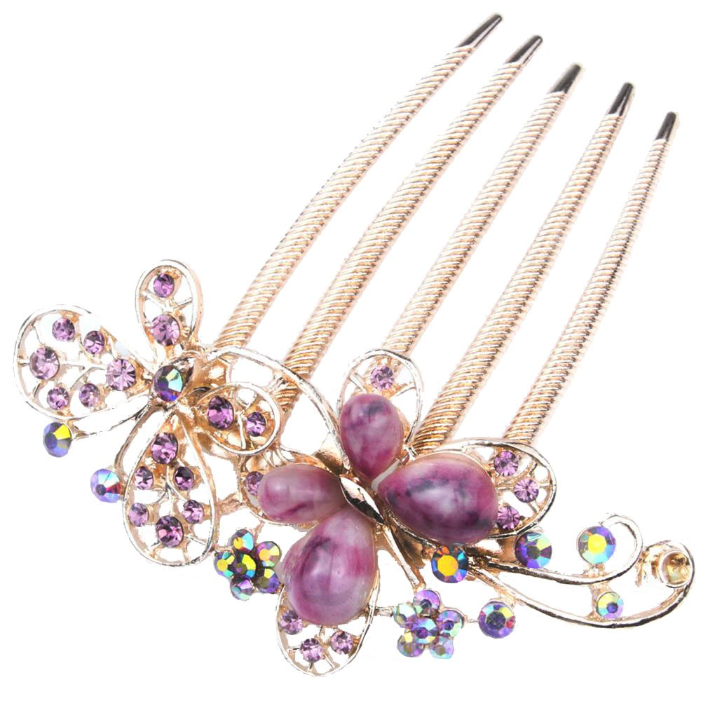niceeshop(TM) Vintage Style Noble and Elegant Luxury Multi Color Rhinestone Butterfly Insert Comb Hair Clip-Purple