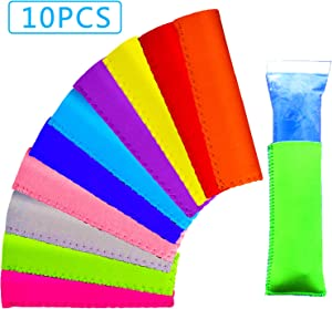 Ice Pop Sleeves, 10 Pack Popsicle Holders Bags, Original Neoprene Freezer Popsicle Covers, 10 Colors