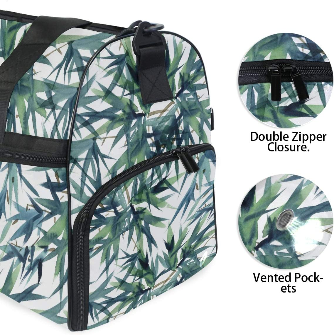 ALAZA Watercolor Japanese Ink Bamboos Sports Gym Duffel Bag Travel Luggage Handbag Shoulder Bag with Shoes Compartment for Men Women