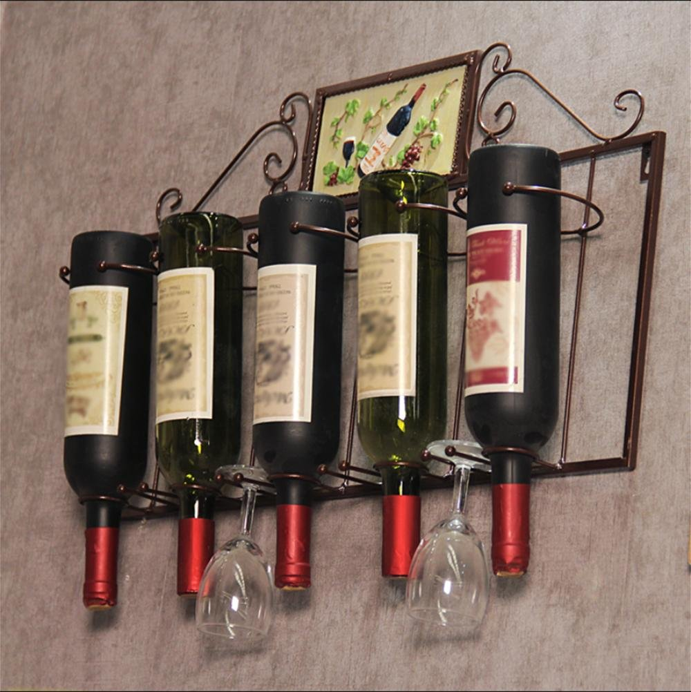 wine rack ,Iron, wall-mounted creative hanging living room restaurant bar Wall wine wine bottle rack , bronze color Z&HAO