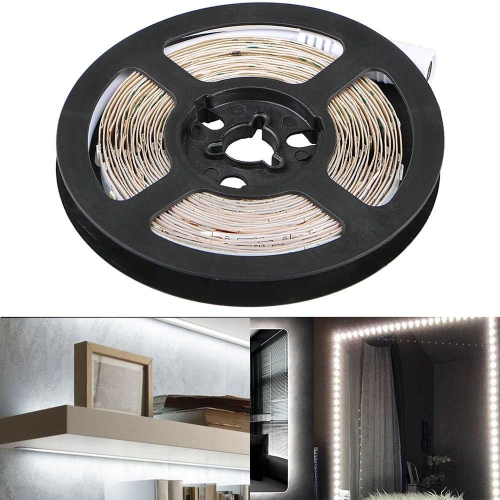 EEEKit Dimmable 300 LED Light Strip Kit w/Power Supply, Super Bright 13 Feet 12V LED Ribbon, 6000K Daylight White Under Cabinet Lighting Strips, LED Tape