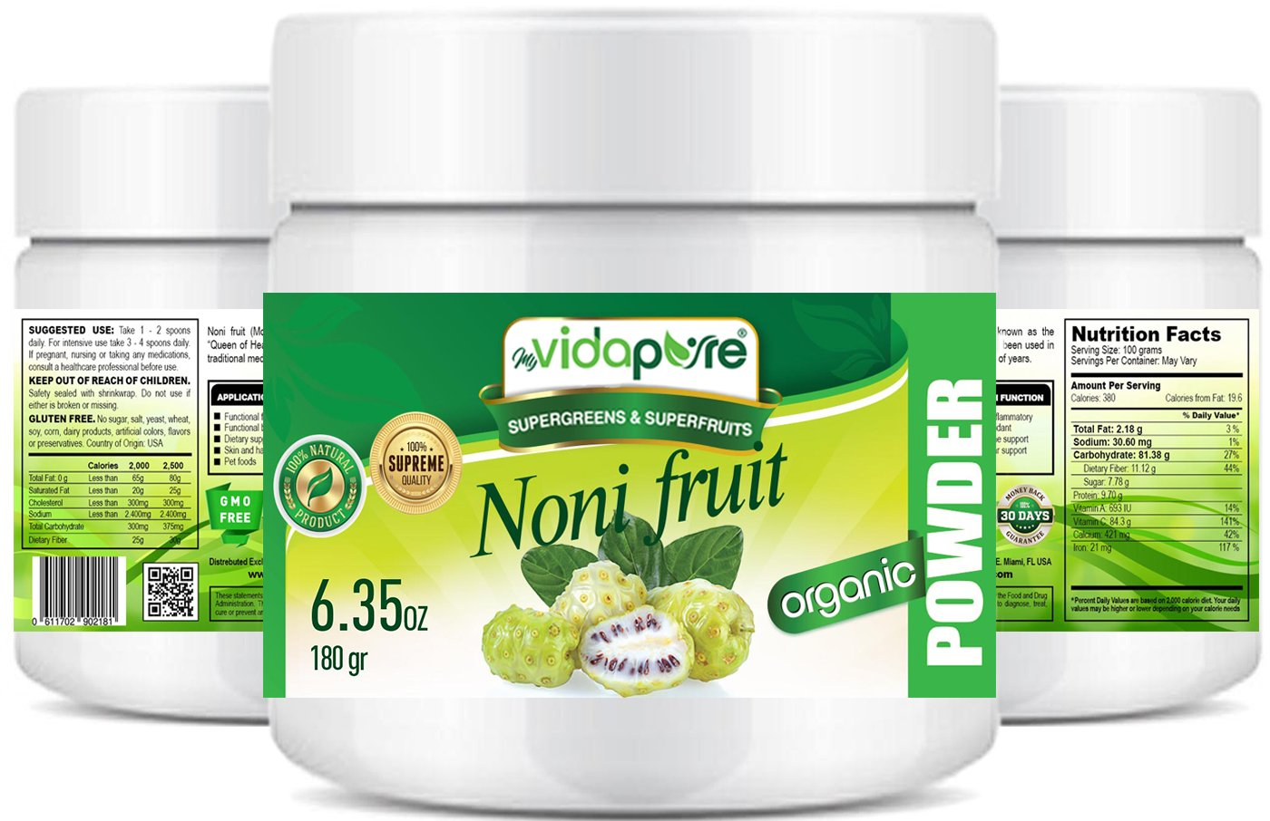 Organic NONI Fruit Powder. Pure RAW Superfood Gluten Free Non GMO for Health, Baking, Beauty, Cooking and Dietary Supplement. 6.35 Ounces 180 Grams. by myVidaPure