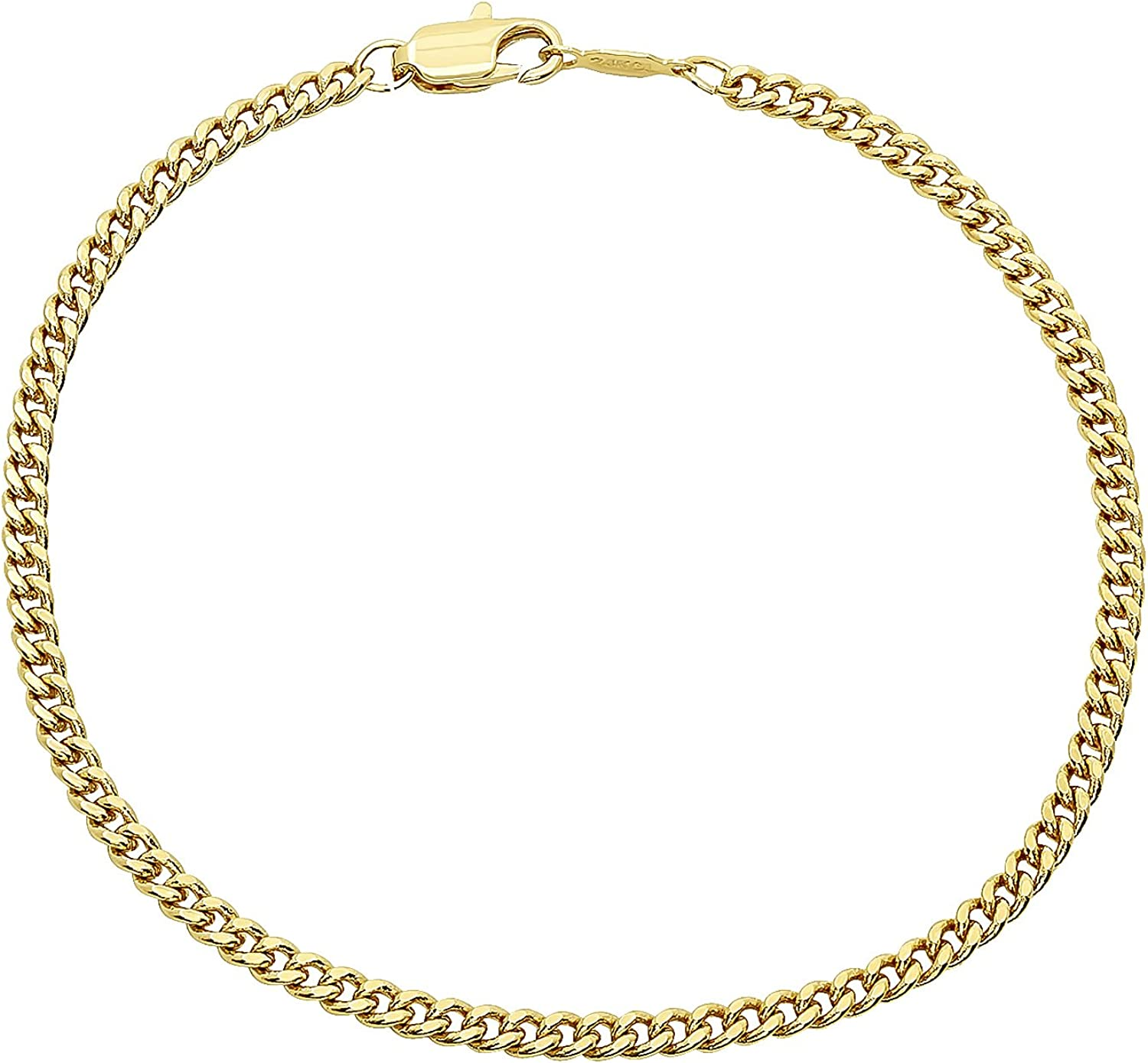 The Bling Factory 2.2mm 24kt Gold Plated Cuban Link Curb Bracelet