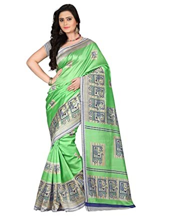 cd399ed1185 e-VASTRAM Women s Mysore Silk Saree (Ns3C Green)  Amazon.in  Clothing    Accessories