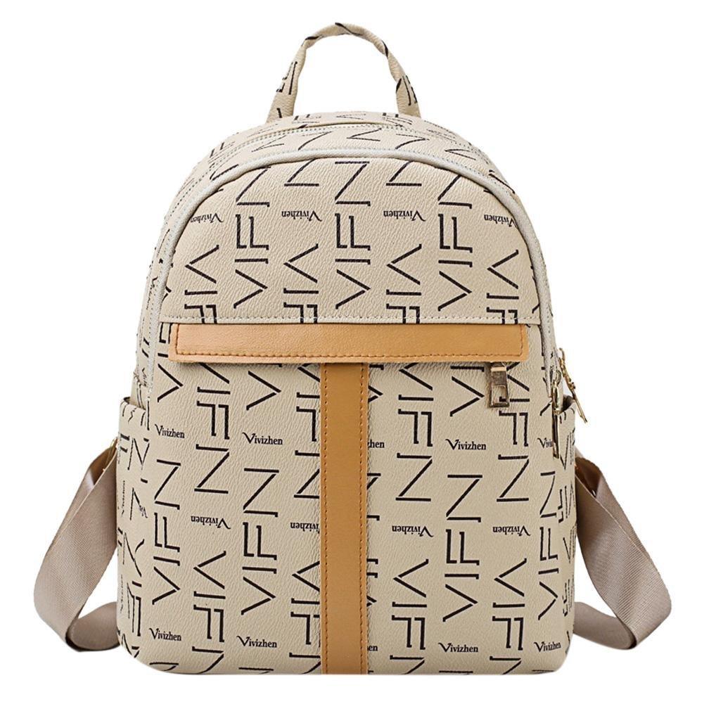 7b19ac6285 Amazon.com  Tuankay Elegant Women PU Leather Backpacks Mini Zipper Shoulder  Schoolbags (Beige)  Shoes