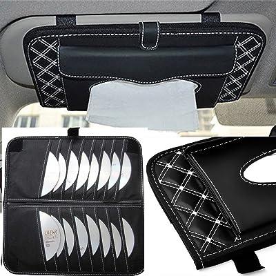 StyleZ CD Visor Organizer,Car Sun Visor Tissue Bag Multi Function Double-deck Auto Extra Car Vehicle Pocket ,CD Holder Visor with Tissue Holder,16 Cd/dvd Slots Stored Safely CD Storage Cases for Car: Home Audio & Theater