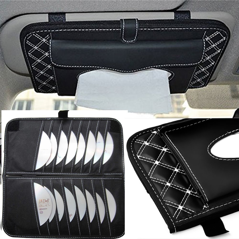 Deborah Daniel - 2017 Car Sun Visor Tissue Bag Multi Function Double-deck Auto Extra Car Vehicle Pocket CD Holder Visor With Tissue Holder by Deborah Daniel