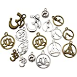 100g (About 75pcs) Craft Supplies Mixed Yoga OM OHM Charms Pendants Beads Charms Pendants for Crafting, Jewelry Findings Making Accessory for DIY Necklace Bracelet M22 (Yoga OM Charms)