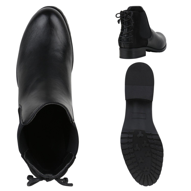 Stiefelparadies Damen Damen Stiefelparadies Stiefeletten Chelsea Stiefel Übergrößen Flandell Schwarz Schleifen 32bac3