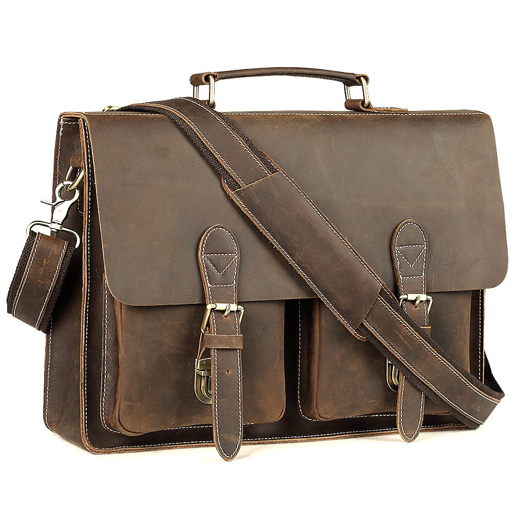 Leather Messenger Bag for Men Handmade Laptop Briefcase Fit 15.6 inch Pabin (Vintage Coffee) PB901
