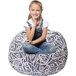 5 STARS UNITED Stuffed Animal Storage Bean Bag - Large Beanbag Chairs for Kids - 90+ Plush Toys Holder and Organizer for Girls - 100% Cotton Canvas Cover - Gray Roses