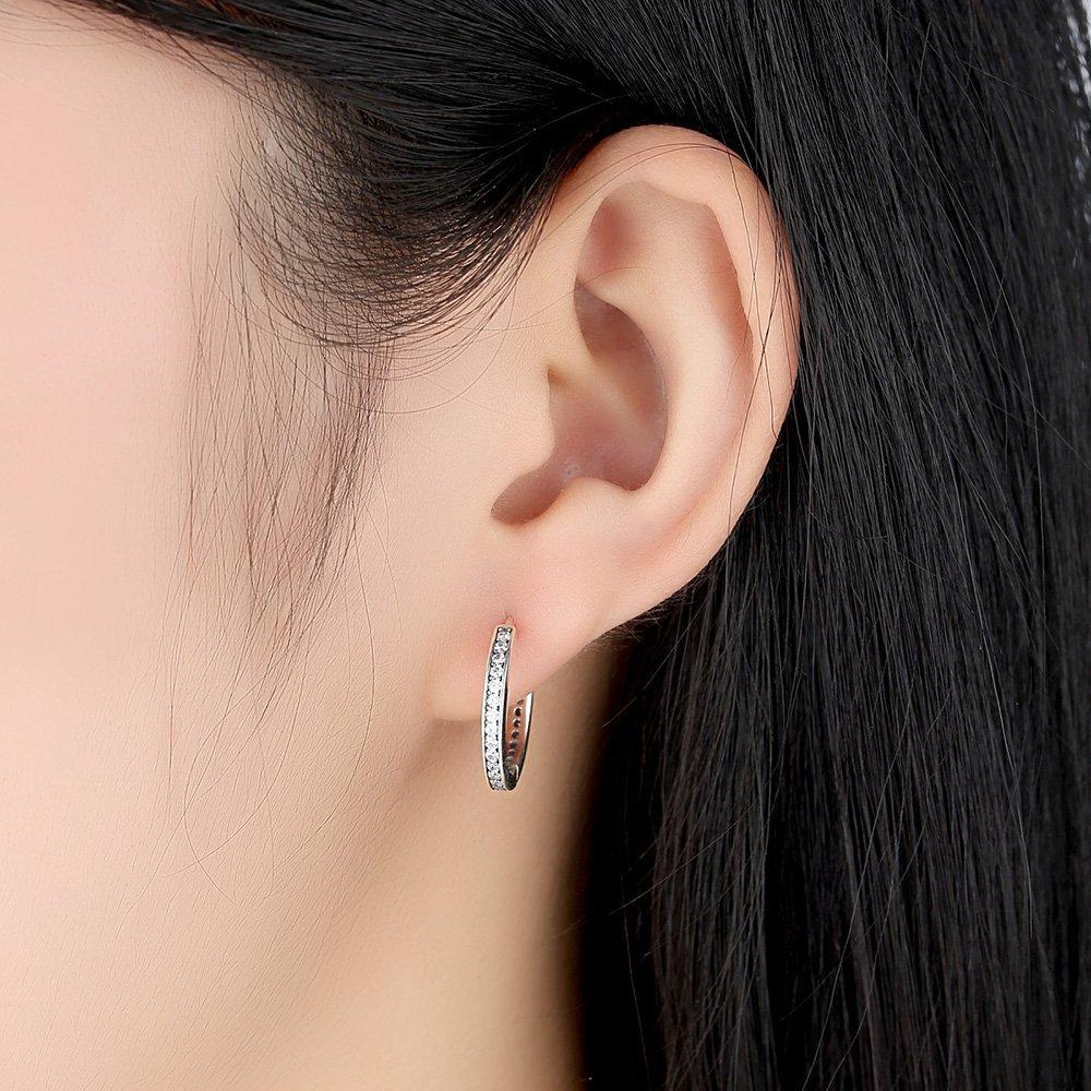 Sterling Silver Cubic Zirconia Hoop Earrings For Women By Presentski NE11