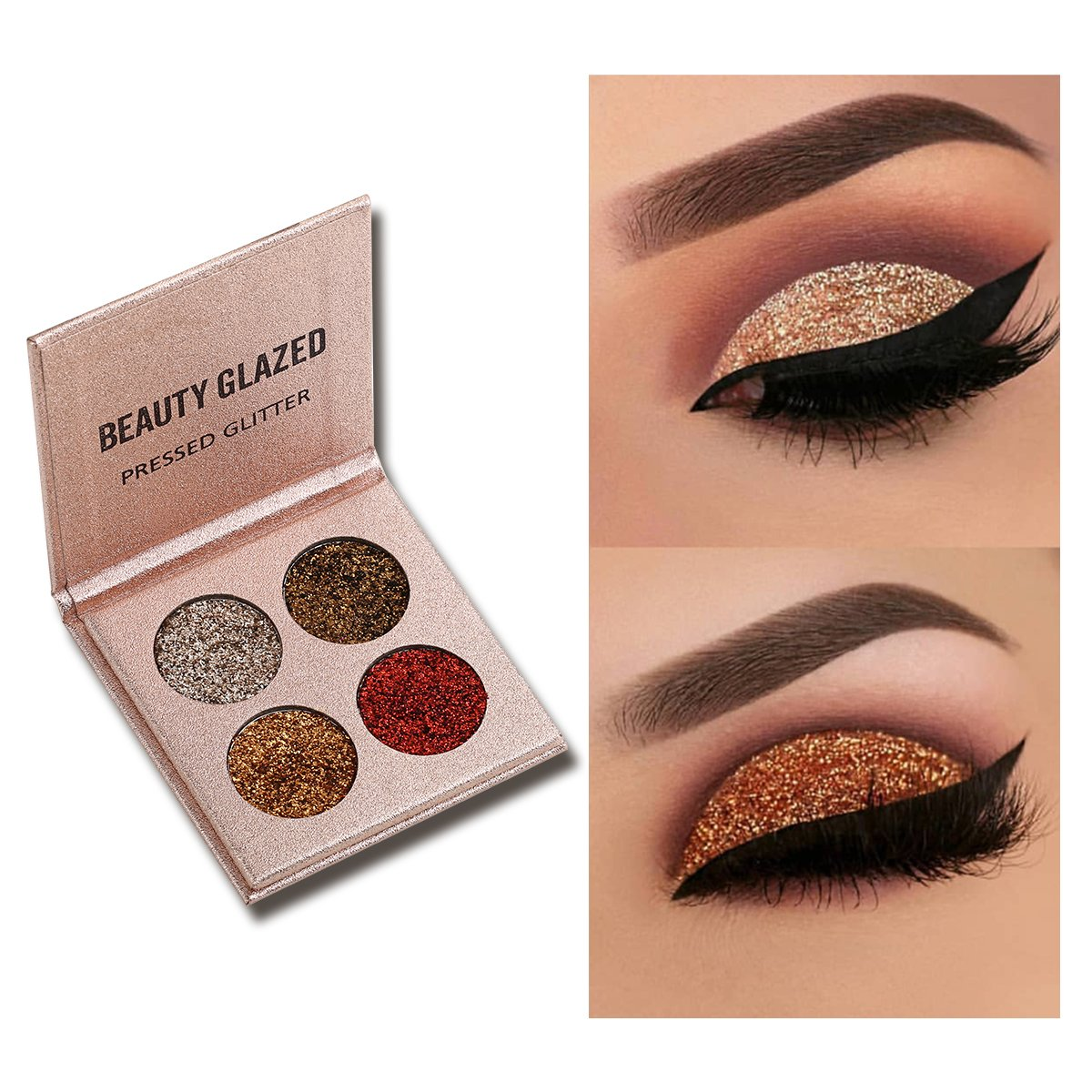 Beauty Glazed Professional Cosmetic Shimmer Eyeshadow Palette Insanely Pigments 4 Glitter Make Up Palettes Long Lasting Waterproof (Rose Gold)